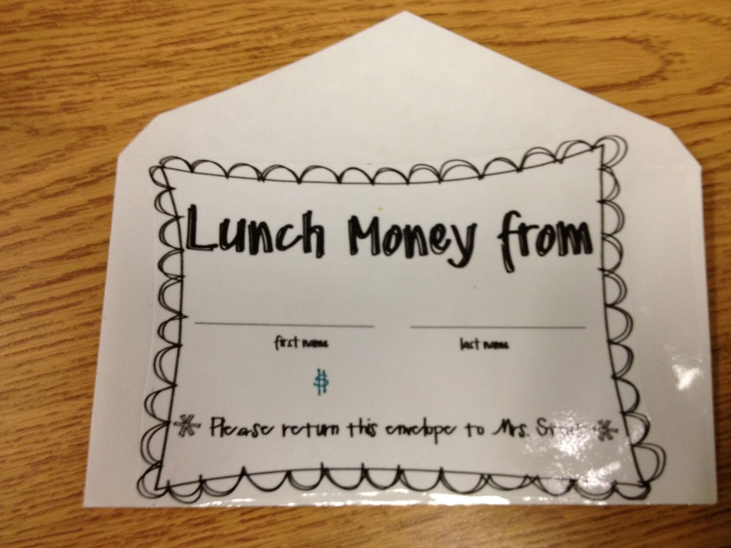 lunch money envelope